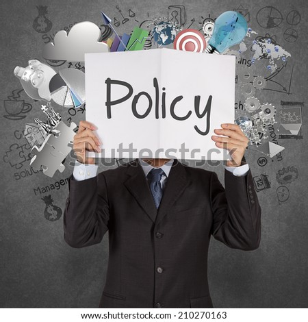 businessman hand show book of word policy on texture background as concept - stock photo