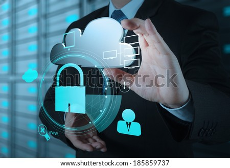 businessman hand show 3d cloud icon with padlock as Internet security online business concept  - stock photo