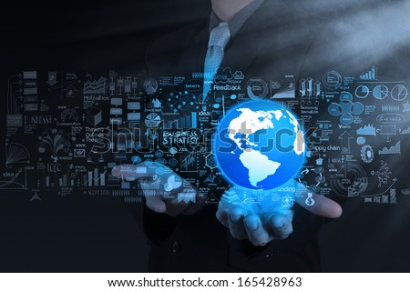 businessman hand show 3d the world and business strategy as concept - stock photo