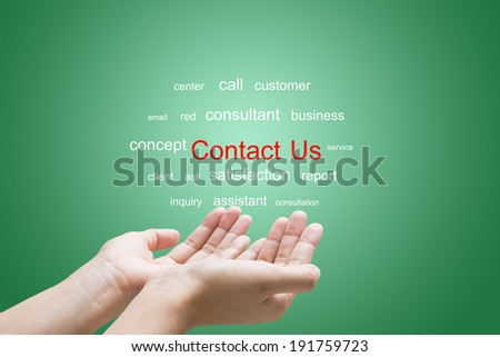 Businessman Hand Showing Contact Us Word   - stock photo