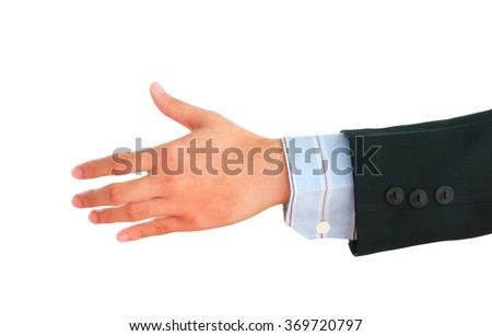 Businessman'hand showing gesture isolated on white background. - stock photo