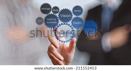 businessman hand shows gear business success chart concept - stock photo