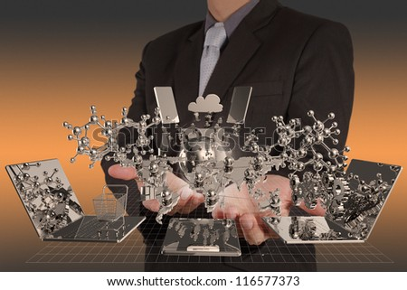 businessman hand shows modern technology as concept - stock photo
