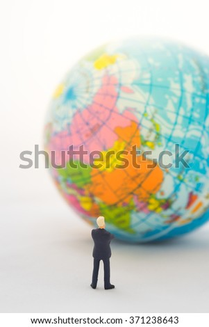 Businessman hand thinking or making decision in front of China map on global map , Global business concept. - stock photo