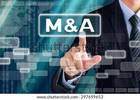 Businessman hand touching M & A (Merger and Acquisition) sign on virtual screen - stock photo