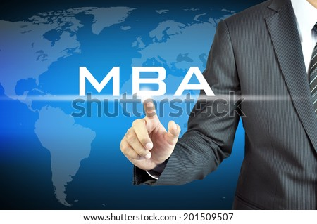 Businessman hand touching MBA sign on virtual screen - education & business abstract - stock photo