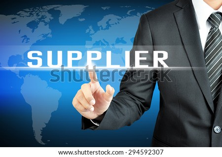 Businessman hand touching SUPPLIER sign on virtual screen - stock photo
