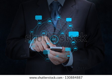 businessman hand use smart phone computer with email icon as concept - stock photo