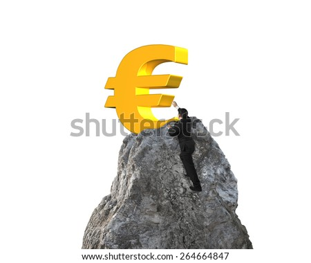 Businessman hand wanting for gold euro symbol on mountain peak with white background - stock photo