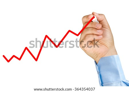 Businessman hand with marker drawing upward graph on clear glass whiteboard isolated - stock photo