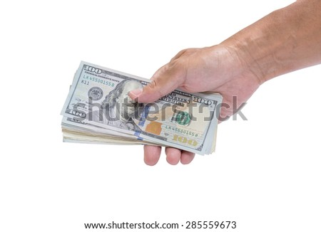 Businessman hand with money, United stage dollar bill isolated on white background; clipping path - stock photo