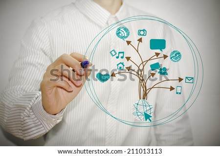 Businessman hand with pen drawing a graph social media concept on whiteboard - stock photo