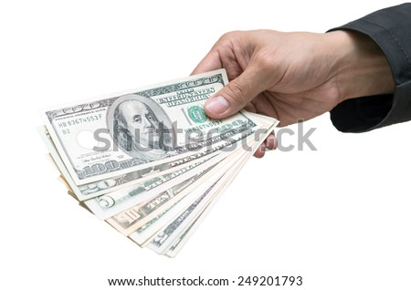 Businessman Hand with USD dollar money - stock photo