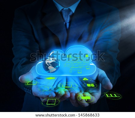 Businessman hand working with a Cloud Computing diagram on the new computer interface as concept - stock photo