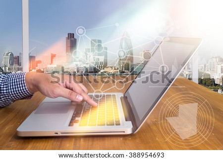 businessman hand working with modern technology and digital  business strategy concept - stock photo
