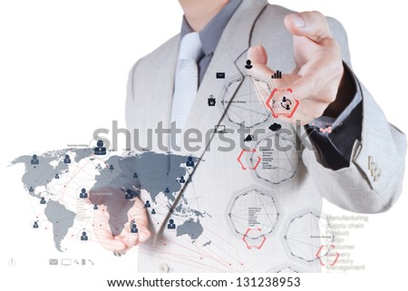 businessman hand working with new modern computer and business strategy and social network  as concept - stock photo