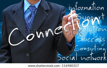 businessman hand writing connection - stock photo