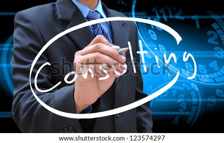 businessman hand writing consulting - stock photo