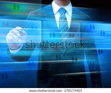 businessman hand writing modern social buttons - stock photo