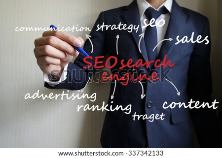 businessman hand writing seo search engine chart , business concept , business idea  - stock photo