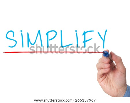 Businessman hand writing Simplify with marker on transparent wipe board isolated on white. Stock Image - stock photo