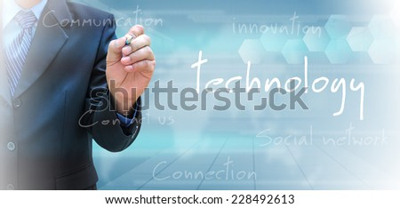 businessman hand writing technology  - stock photo