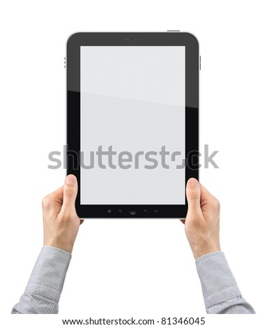 Businessman hands are holding the touch screen device. Vertical composition. Isolated on white. - stock photo