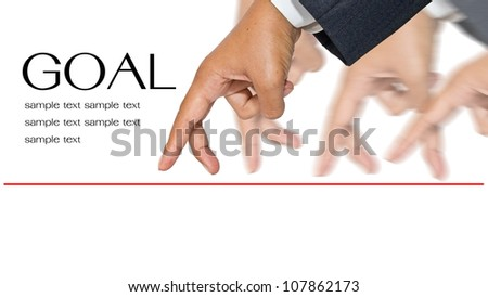 Businessman hands as finger walking for competition or leadership concept - stock photo