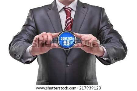 businessman hands holding button Isolated on white background  - stock photo