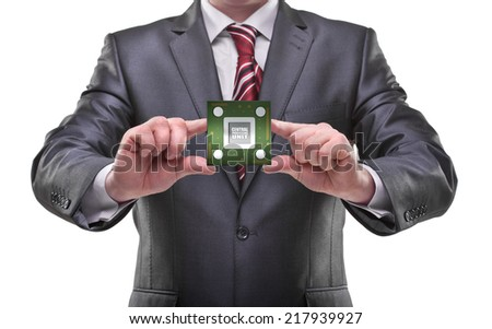 businessman hands holding cpu Isolated on white background  - stock photo