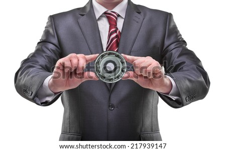 businessman hands holding object Isolated on white background  - stock photo