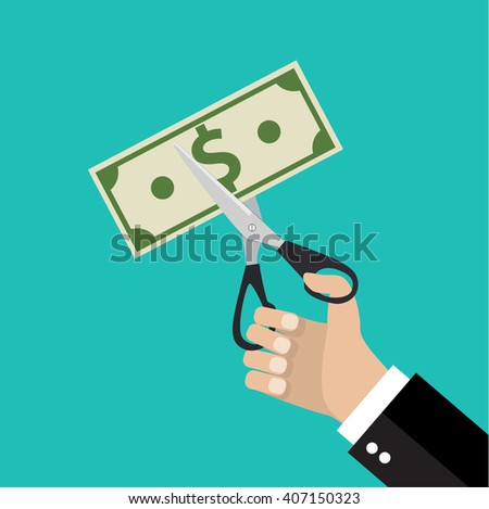 Businessman Hands holding scissors and cutting money bill. Reducing cost concept. illustration in flat design on green background Raster version - stock photo