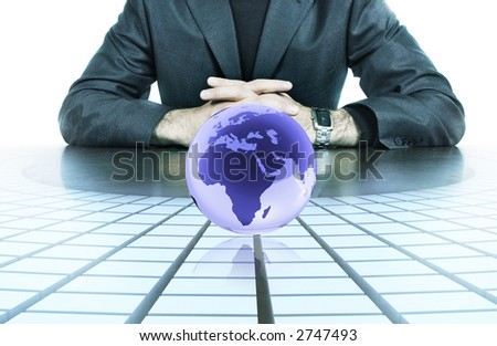 businessman hands resting on top of his desk - stock photo