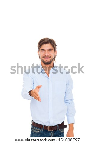 businessman handshake, hold hand welcome gesture, Handsome young business man happy smile wear casual jeans blue shirt isolated over white background - stock photo