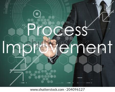 businessman handwriting Process Improvement on a transparent board - stock photo