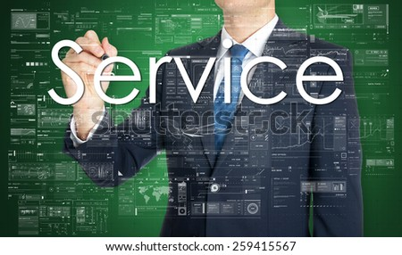 businessman handwriting Service on a transparent board - stock photo