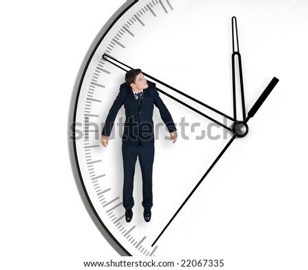 Businessman hangs on an arrow of clock, isolated on white background - stock photo