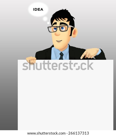 Businessman has an idea, holding a white cardboard with one hand - stock photo