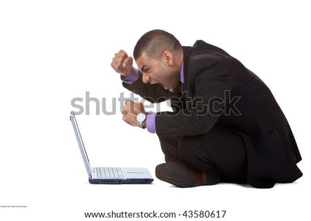 Businessman has stress because of a computer problem. Isolated on white. - stock photo