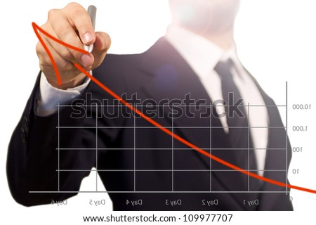 Businessman have a have a conference illustrating the success of his works in a bunch of days with a diagram. the way for the Top. - stock photo