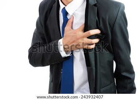 businessman having heart attack isolate on over white background - stock photo