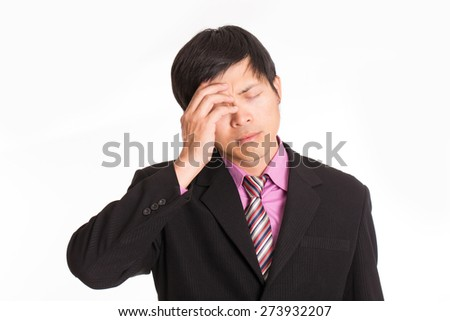 Businessman headache after can not solve with his solution with white background - stock photo