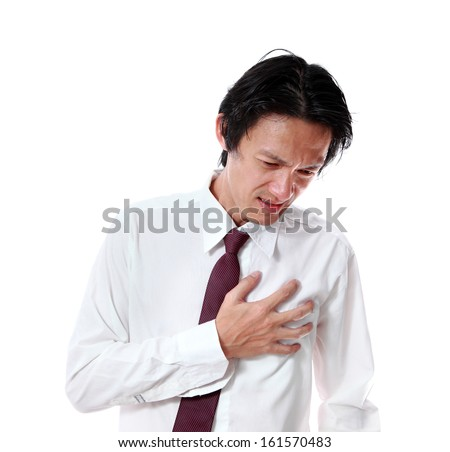 Businessman Heart Attack ,on white background - stock photo