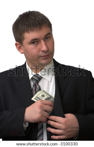 Businessman hides five banknotes of american dollars - stock photo
