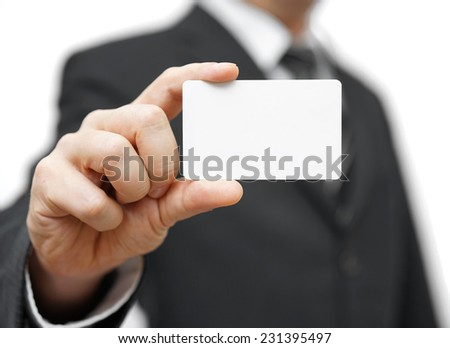 businessman hold business card , contact us concept - stock photo