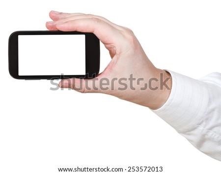 businessman hold digital communicator with cut out screen isolated on white background - stock photo