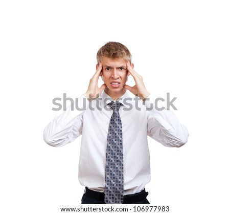 businessman hold hands on temples head, concept of business man stressed, headache, depressed, pain, wear elegant shirt and tie isolated over white background - stock photo