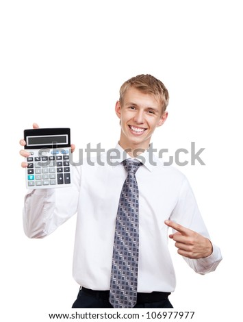 businessman hold show calculator point finger on it, handsome young business man standing smile looking at camera, wear elegant shirt and tie isolated over white background - stock photo