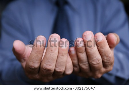 businessman hold two hand - stock photo