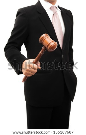 Businessman holder wooden justice in the hands. - stock photo